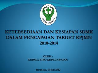 KETERSEDIAAN DAN KESIAPAN SDMK DALAM PENCAPAIAN TARGET RPJMN 2010-2014