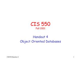 CIS 550 Fall 2001
