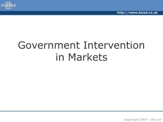 Government Intervention in Markets