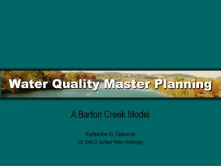 Water Quality Master Planning
