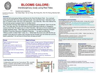BLOOMS GALORE:  Interdisciplinary study using Red Tides