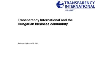 Transparency International and the Hungarian business community