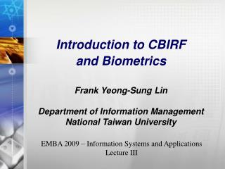 EMBA 2009 – Information Systems and Applications Lecture III