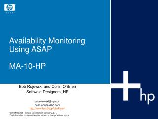 Availability Monitoring Using ASAP MA-10-HP