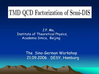 Transverse Momentum Dependent QCD   Factorization for Semi-Inclusive DIS