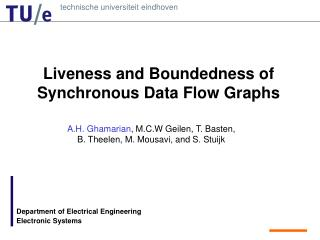 Liveness and Boundedness of Synchronous Data Flow Graphs