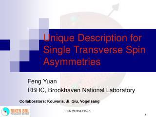 Unique Description for Single Transverse Spin Asymmetries