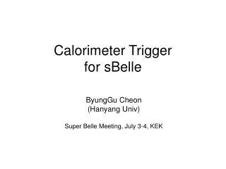 Calorimeter Trigger  for sBelle