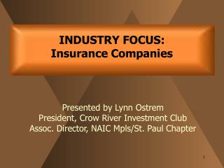 INDUSTRY FOCUS:   Insurance Companies