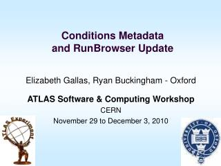 Conditions Metadata  and RunBrowser Update
