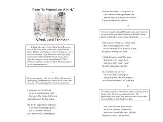 "from ""In Memoriam A.H.H."" Alfred, Lord Tennyson  5 I sometimes hold it half a sin"