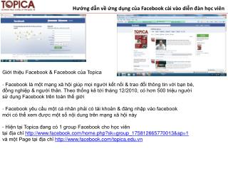 Hướng dẫn về ứng dụng của Facebook cài vào diễn đàn học viên