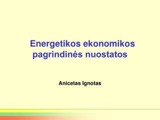 Energetikos ekonomikos pagrindinės nuostatos