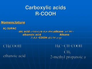 Carboxylic acids R-COOH