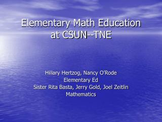 Elementary Math Education  at CSUN--TNE