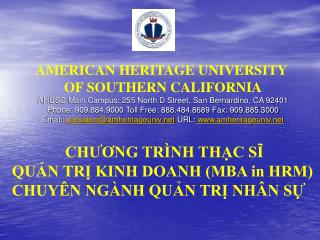 AMERICAN HERITAGE UNIVERSITY  OF SOUTHERN CALIFORNIA