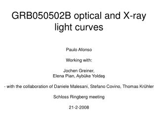 GRB050502B optical and X-ray light curves
