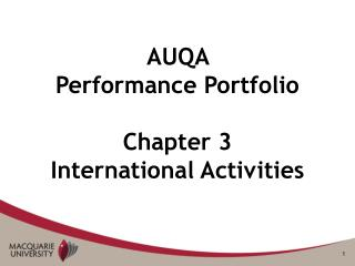 AUQA  Performance Portfolio Chapter 3  International Activities