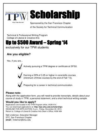 Scholarship Sponsored by the San Francisco Chapter of the Society for Technical Communication