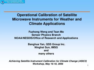 Operational Calibration of Satellite Microwave Instruments for Weather and Climate Applications