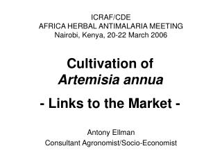 Cultivation of  Artemisia annua - Links to the Market -