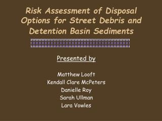 Risk Assessment of Disposal Options for Street Debris and Detention Basin Sediments