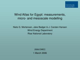 Wind Atlas for Egypt: measurements,  micro- and mesoscale modelling