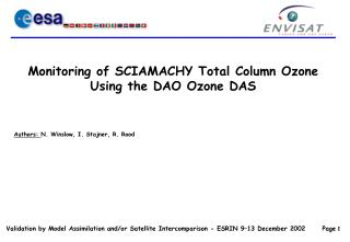 Monitoring of SCIAMACHY Total Column Ozone Using the DAO Ozone DAS