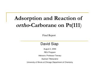 Adsorption and Reaction of  ortho -Carborane on Pt(111 )