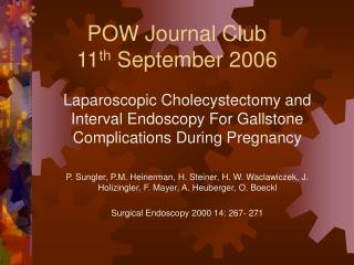 POW Journal Club 11th September 2006