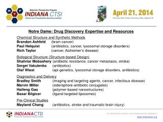 Notre Dame: Drug Discovery Expertise and Resources