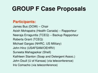 GROUP F Case Proposals