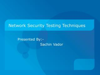 Network Security Testing Techniques