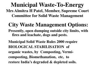 City Waste Management Options: