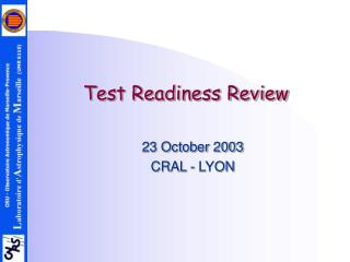 Test Readiness Review