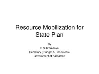 Resource Mobilization for State Plan