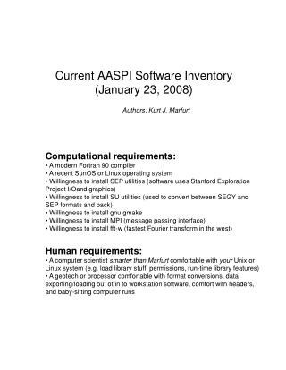 Current AASPI Software Inventory (January 23, 2008)