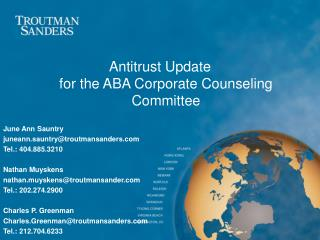 Antitrust Update for the ABA Corporate Counseling Committee