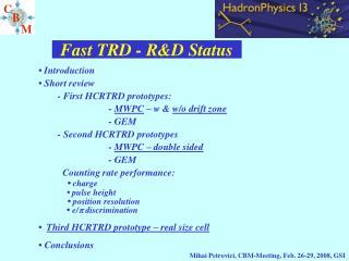 Fast TRD - R&D Status