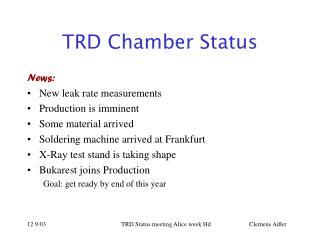 TRD Chamber Status