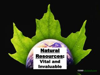 Natural Resources: Vital and Invaluable