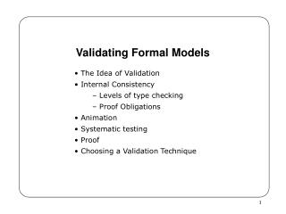 Validating Formal Models