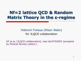 Nf=2 lattice QCD & Random Matrix Theory in the ε-regime