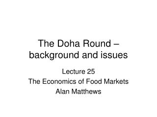 The Doha Round – background and issues