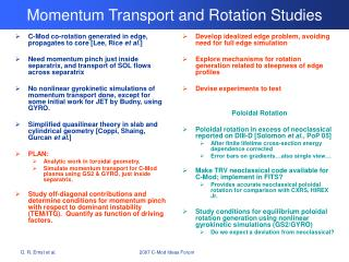 Momentum Transport and Rotation Studies