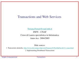 Transactions and Web Services