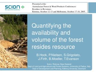Quantifying the availability and volume of the forest resides resource