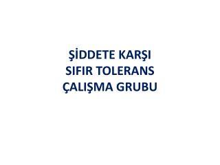 ŞİDDETE KARŞI  SIFIR TOLERANS  ÇALIŞMA GRUBU