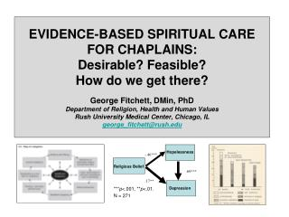 EVIDENCE-BASED SPIRITUAL CARE  FOR CHAPLAINS:  Desirable? Feasible?  How do we get there?