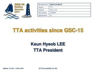 TTA activities since GSC-15
